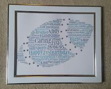 Personalised 10x8 Word Art Print. Framed Rugby. Gift. Birthday