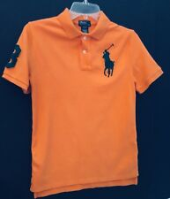 Youth Boys Ralph Lauren Polo Shirt Size 10-12 Orange Green Great For School
