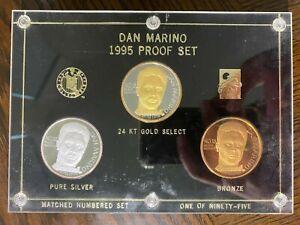 DAN MARINO 1995 PRO BOWL 3 COIN PROOF SET .999 FINE SILVER RARE 1 OF 95