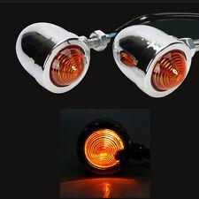 2X Heavy Duty Steel Motorcycle Mini Bullet Amber Turn Signal Blinker Lights NR