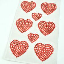 Heart Love Shape Stick on Crystal Rhinestone Self Adhesive Wedding Craft Sticker