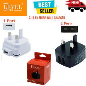 2.1A Fast 2 Port & 1 Port USB Charger UK Mains Wall Plug Power Adapter 3 Pin UK