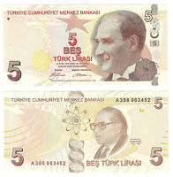 TURKEY 5 Lira 2009 P-222a UNC Uncirculated