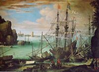 """perfact 36x24 oil painting handpainted on canvas""""Coastal and port"""" NO3780"""