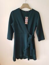 Women's Boohoo Green Formal Tie Wrap Fill Detail Skater Dress Size UK 12