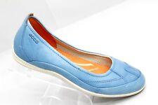 Ecco Womens Size 36 Us 5-5.5 Slip On Shoes Leather Light Blue Comfort Foam