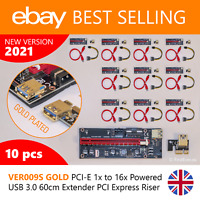 10x UK BEST Riser VER009S GOLD PCI-E 1x to 16x Powered USB 3 60cm PCIe Extender