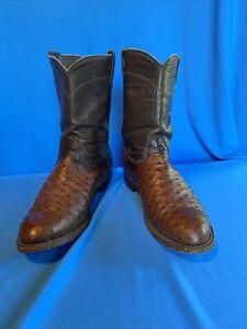Mens Larry Mahan Full Quill Ostrich Cowboy boots 10.5D_2560