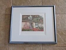 Nicole Gagne Ouellet Signed/ NumberedEtching Flowers House  Canada Framed