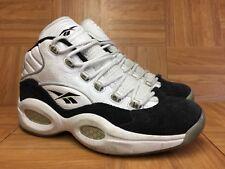 5a3bb243f7827e RARE🔥 Reebok Question Mid Allen Iverson Concord White Black Suede  Basketball 10