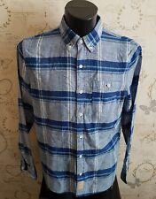 """Hollister Camicia Piccolo 36/38"""" MASCHIO Lino Blu Check camicia S Small Lino"""