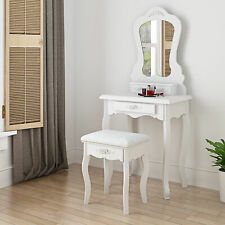 Wood Vanity Set Dressing Table w/ Cushioned Stool Mirror Makeup Desk Small Room