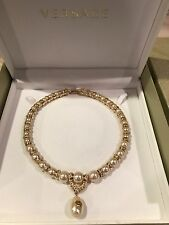 Vintage RARE Signed Gianni Versace Pearl Gold Medusa Necklace Made In Italy