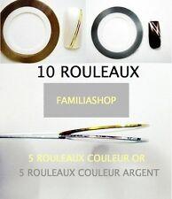 Lot 10 Rouleaux OR et ARGENT striping fils autocollant sticker nail art ongles