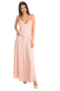 VICOLO Maxi Fit & Flare Dress Size S Pink Partly Lined Strappy Made in Italy