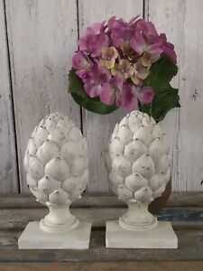 Stunning Pair of Brand New Artichoke Bookends White Distressed Vintage Style