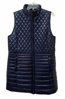 TALBOTS Long Quilted Puffer Vest A-Line 2 Way Zip Navy Blue Women's Large