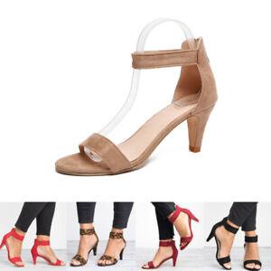 Mid Low Block Women's  Ankle High Heels Sandals  Shoes Open Toe Summer