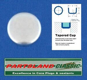 """Cup Core Plug Plated Size from 1/4"""" 6.35mm through to 1"""" 25.4mm"""