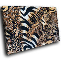 Brown Zebra Leopard Fur Funky Animal Canvas Wall Art Large Picture Prints
