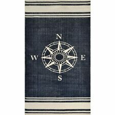 Nautical Hand Woven Navy/Off White Area Rug   Beach House Decor  Ocean throw rug