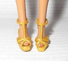 SHOES ~BARBIE BASICS DOLL MODEL MUSE YELLOW GOLD POOL CHIC SANDALS HIGH HEEL