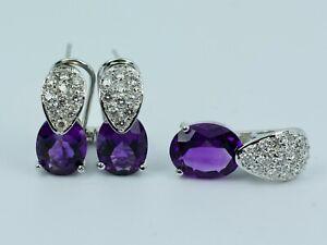 14k White Gold Oval Amethyst & Round Diamond Matching Pendant & Earring Set