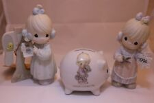 Precious Moments Figurine Lot of 3: #142654, #C0011, & Piggy Bank
