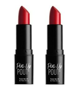 LOT 2 NYX Professional Pin-Up Pout CREAM Lipstick RED Lucy