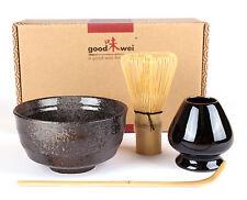 Japanisches Matcha-Set aus Keramikschale, Matchabesen mit Besenhalter Chasentate