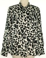Michael Kors Women's Blouse Black and Cream Animal Print Button Front Size 8