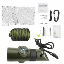 Survival Emergency Camping Fishing Tools Kit + Whistle Gear Compass Army Green