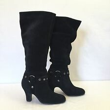 Aerosoles Boots womens Black knee high suede heels Metal Accents Sexy Comfy 6