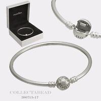 "Authentic Pandora Sterling Silver Bangle Bracelet 7.5"" Hinged Box 590713"