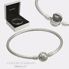 "Authentic Pandora Sterling Silver Bangle Bracelet 6.7"" Hinged Box 590713-17"