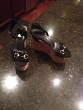 Authentic GUCCI Womens LIPA Black Suede/Cork/Gold Tone Studded Wedges Size 38