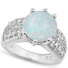 LOVELY 3.21 CTW GENUINE DIAMOND & CREATED FIRE OPAL IN 925 STERLING SILVER RING