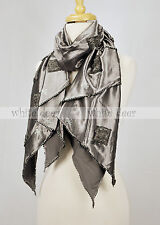 100% Cotton Smooth Shining Soft Party Scarf Fluer De Lis Rhinestone Black Brown