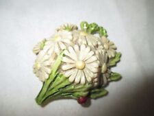 RaRe BUNCH of DAISIES with LADY BUG celluloid Tape measure ; ANTIQUE c1920's