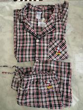 Walt DISNEY PARKS 2pcs pajama men's sz XL flannel plaid Micky Christmas - NWT