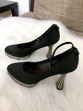 CHANEL Black Satin Silver Metal Platform Ankle Strap Pumps Heels Size 7.5 38.5