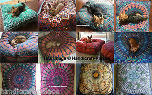 5 PC Wholesale Lot Square Floor Pillow Ottoman Pouf Indian Mandala Dog / Cat Bed