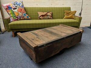 Handmad Industrial Trolley Cart Coffee Table/Tv Stand. Vintage Reclaimed, Rustic