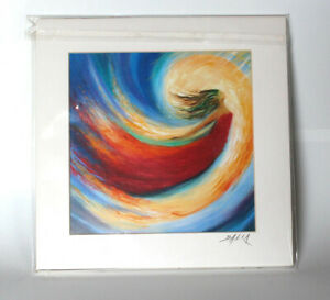 Painting Reprint DALIA  matted 8 x 8 flying woman swirl fairy sky NEW red blue