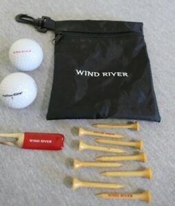 NEW Wind River Promotional Bag, 2 Authoritee #1 Golf Balls, 9 Tees, Divot Tool