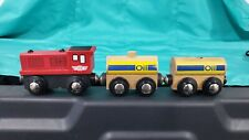 Wooden Railway Train Lot x3 Red Engine 2 oil cars works w Brio, Thomas & Friends