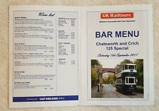 CHATSWORTH AND CRICH 125 SPECIAL RAILTOUR MENU Railway Dining Buffet Car Bar HST