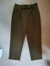 Topshop Petite Khaki Green Smart Casual Tapered Cropped Trousers Size 8