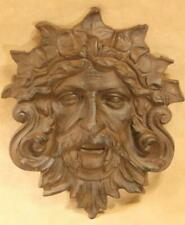 Green man plaque ~ cast iron ~ rust finish Celtic nature diety New fountain mask