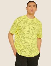 Armani Exchange A|X Loose Fit Allover Logo T Shirt Mens M Faded Lime NWT $55